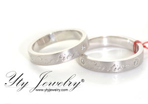 14 karat white gold cartier inscribed wedding rings with diamonds yty jewelry manila - Wedding Ring Price